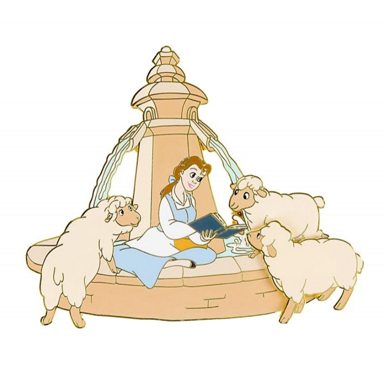 Belle with Sheep at Fountain