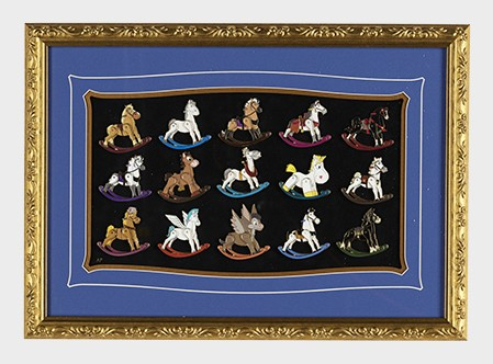 Rocking Horses Artist Proof Framed 15 Pin Set